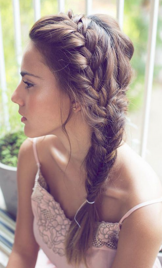side swept french braid hair style