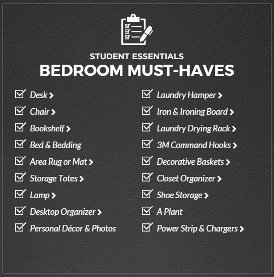 bedroom things list getting ready to go back to campus studentlife product 10095